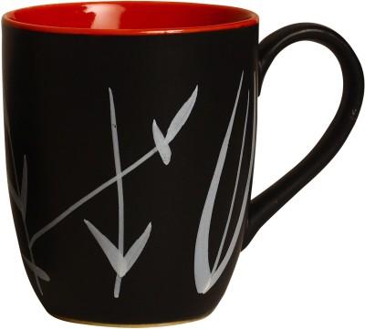 caffeine Coffee  Ceramicin red & White Doodle Platform (Set of 1) Ceramic Mug