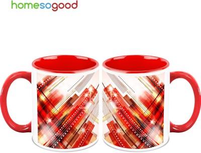 HomeSoGood Animated High Rise Buildings Ceramic Mug