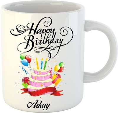 Huppme Happy Birthday Arkay White  (350 ml) Ceramic Mug