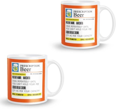 posterchacha Prescription Beer  For Patient Name Harshita Pack of 2 Ceramic Mug