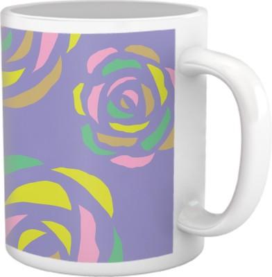 Tiedribbons Shy Shine_Geometric Multicolor_ Petal Rose Pattern Ceramic Mug