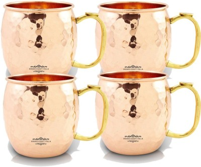 Indian Craft Villa IndianCraftVilla Handmade Set Of 3 Moscow Mule Pure Solid Copper Round Hammered  with Thumb handle Volume 530 ML for Use Restaurant Ware Bar Ware Beer Hotel Ware Copper Mug