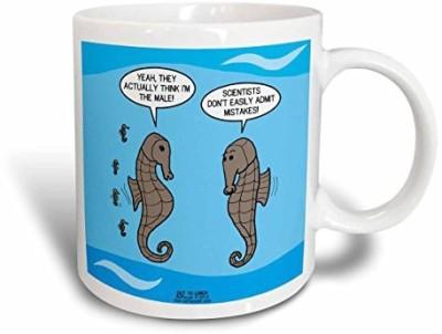 3dRose Stubborn Science and the Male Seahorse Dilemma Ceramic , 11 oz, White Ceramic Mug