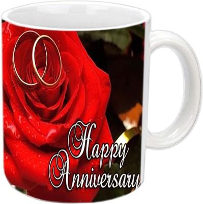 Jiya Creation1 Happy Anniversary With Golden Ring White Ceramic Mug