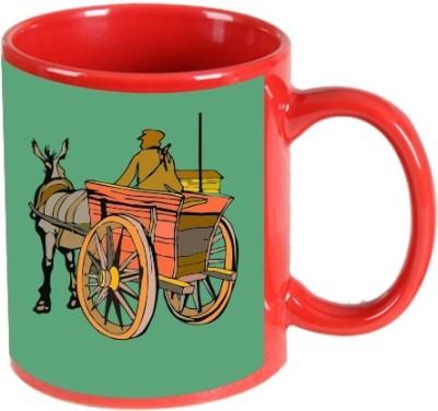Printland Printland Cart Red Coffee  350 - ml Ceramic Mug