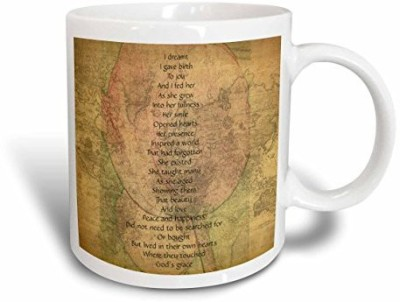 3dRose Map of The World Joy,s Birth Poem Inspirational Poetry Ceramic , 15-Ounce Ceramic Mug