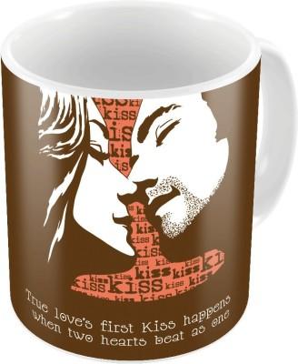 Indiangiftemporium Brown Designer Printed Coffee s Pair 752 Ceramic Mug