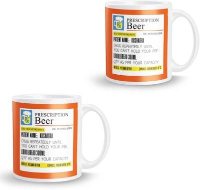 posterchacha Prescription Beer  For Patient Name Kushagra Pack of 2 Ceramic Mug