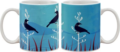 Artifa Blue Birds Porcelain, Ceramic Mug