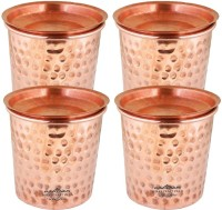 Indian Craft Villa IndianCraftVilla Set Of 4 Pure Copper Small Hammered Glass with Lid - 250 ML Serving Water - Home, Hotel, Restaurant, Good Health,
