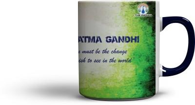 The Indian Mahatma Gandhi (Blue Colour Handle) Coffee Ceramic Mug
