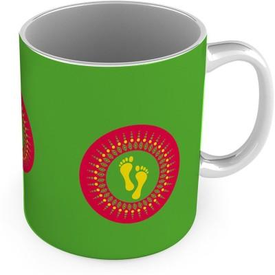 Kiran Udyog Printed Laxmi Charan Design Cute Green Coffee  575 Ceramic Mug