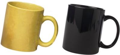 Snapgalaxy Yellow and in Black Combo pack 2pcs Ceramic Mug