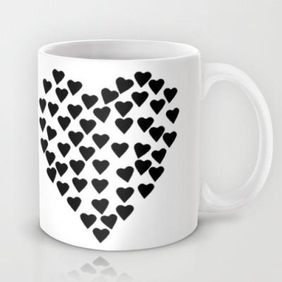 Astrode Hearts Black And White Ceramic Mug
