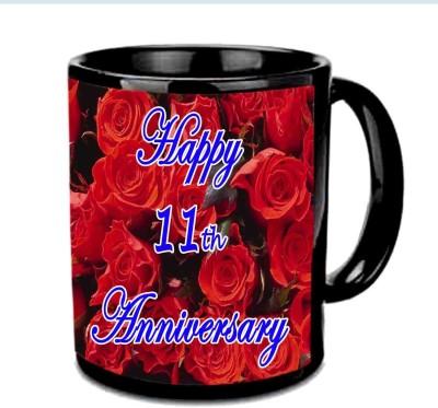 Jiya Creation1 Happy 11th Anniversary Multicolor Ceramic Mug