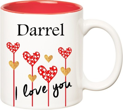 Huppme I Love You Darrel Inner Red  (350 ml) Ceramic Mug