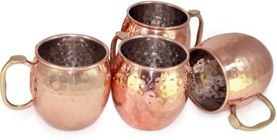 Dungri India Craft Stainless Steel Best Quality Copper  for Moscow Mules 550 ML / 18 oz, Set of 4, Copper Plating Copper Mug