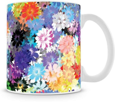 Saledart Mg933-Beautiful And Colour Full Flowers Background Ceramic Mug
