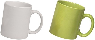 Snapgalaxy White and Green Combo Pack 2pcs Ceramic Mug