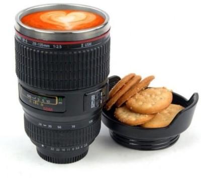 Caniam Camera Lens Self Stirring Cookie Lid Plastic, Stainless Steel Mug