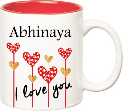 Huppme I Love You Abhinaya Inner Red  (350 ml) Ceramic Mug