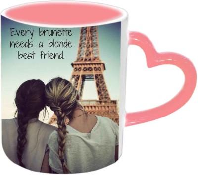 Jiya Creation1 For Best Friends Pink Heart Handle Ceramic Mug