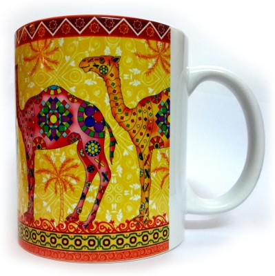 Indiavibes Printed Ceramic Coffee Tea  with Camel 3 Theme Ceramic Mug