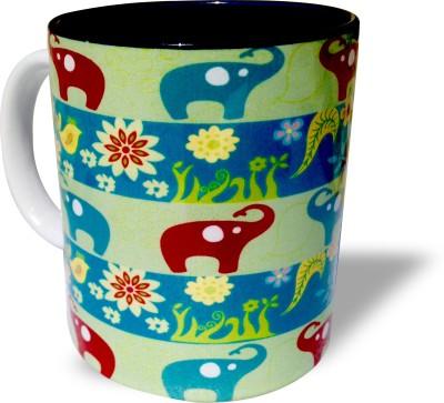 Blue Sky Designz Multi Elephant Dark Grey Ceramic Mug