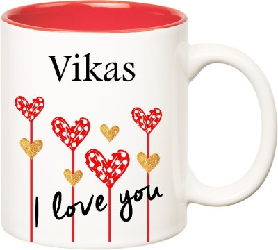 Huppme I Love You Vikas Inner Red  (350 ml) Ceramic Mug