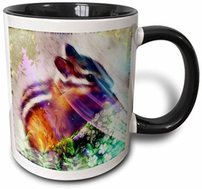 3dRose Chipmunk A Two Tone Black , 11 oz, Black/White Ceramic Mug