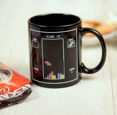 Enfin Homes Black Magical Tetris Bone China Mug