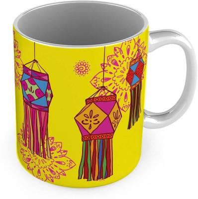 Home India Printed Design Cute Yellow Delightful Coffee  580 Ceramic Mug