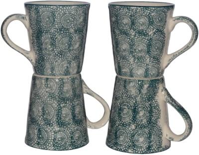 Inhomez Green Hand Block Painted Stoneware Ceramic Tea/Coffee Pottery, Ceramic Mug