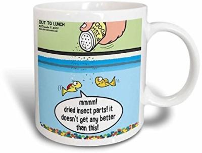 3dRose Fish Food Life in An Aquarium Ceramic , 11 oz, White Ceramic Mug