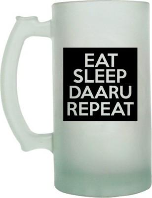 Keep Calm Desi Eat Sleep Daaru Repeat Frosted Beer  Glass Mug
