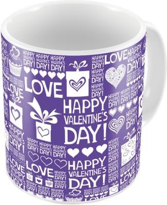 Indiangiftemporium Designer Romantic Print Blue Coffee  710 Ceramic Mug