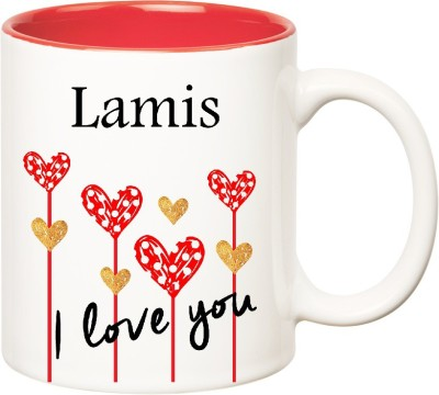 Huppme I Love You Lamis Inner Red  (350 ml) Ceramic Mug