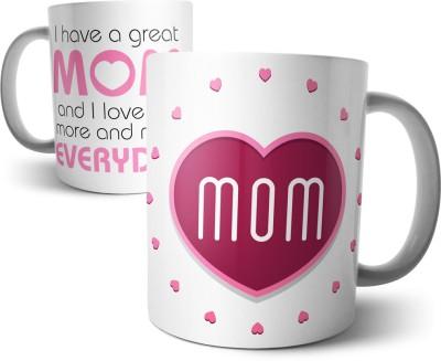Chiraiyaa Happy Mothers Day - Quotation and Mom in Heart Pink Ceramic Mug