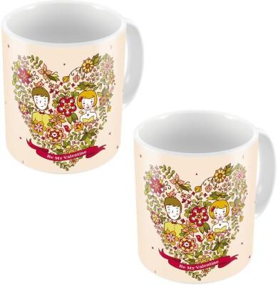 Indiangiftemporium Designer Romantic Printed Coffee s Pair 771 Ceramic Mug