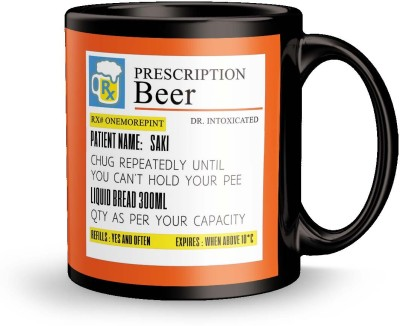 posterchacha  Prescription Beer  For Patient Name Saki For Gift And Self Use Ceramic Mug