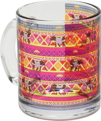 The Elephant Company Rangeen Hathi Glass Coffee  Ceramic Mug