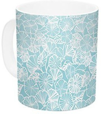 Kess InHouse InHouse Jacqueline Milton Vine Shadow-Aqua Blue Floral Ceramic Coffee , 11 oz, Multicolor Ceramic Mug