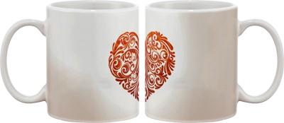 Artifa Floral Heart Porcelain, Ceramic Mug