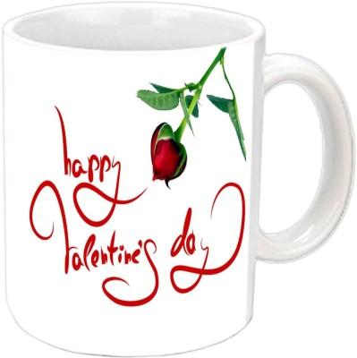 Jiya Creation Valentine Propose Red Rose White  Ceramic Mug