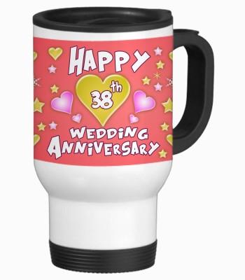 Sajawat Homes 38th Happy Anniversary White Travel Stainless Steel Mug