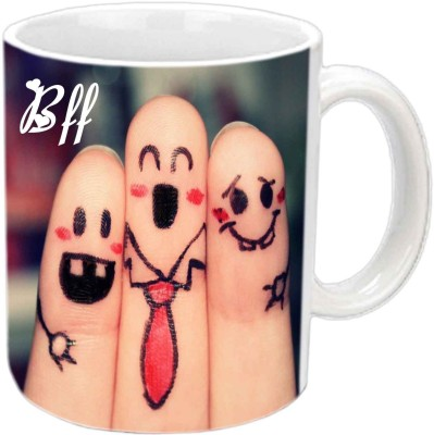 Jiya Creation1 Smiles BFF White Ceramic Mug
