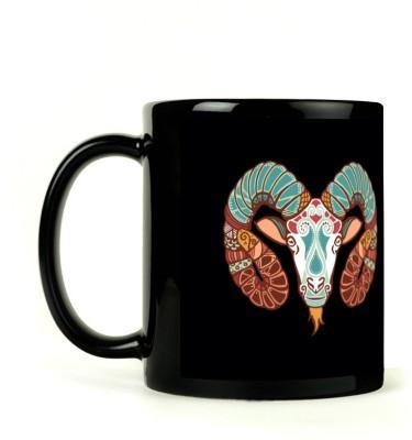 Lovely Collection Black Zodiac Aries Sunsign Ceramic Mug