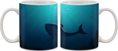Artifa Shark In Water Art Porcelain, Ceramic Mug