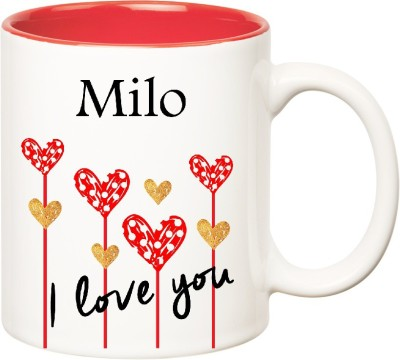 Huppme I Love You Milo Inner Red  (350 ml) Ceramic Mug