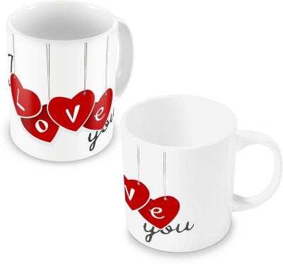 Indian Gift Emporium Lovely I Love You Heart Printed Coffee s Pair 502 Ceramic Mug